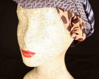 Style hat Beanie, segmented in silk in shades of blue with Ruffles spotted fabric