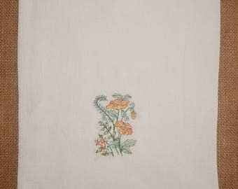 Wildflower Embroidered Flour Sack Towel with ribbon trim