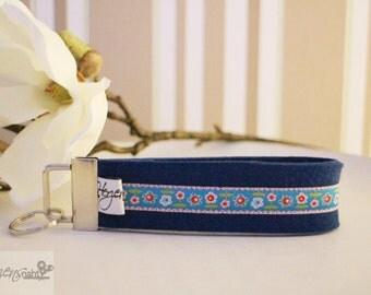 Key chain lanyard felt flowers meadow blue