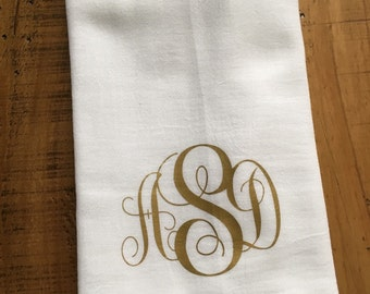 Monogrammed Kitchen Towel - Personalized Towel - Gold 3 Letter Custom Script Monogram Custom - Hostess Housewarming Gift for Her