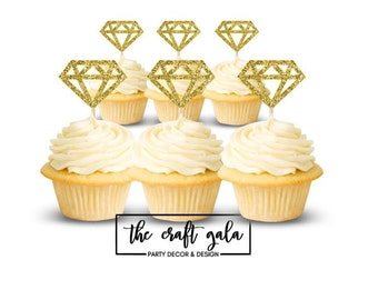 Diamond Cupcake Toppers (set of 12), Glitter Cupcake Toppers, Wedding Cupcake Toppers, Party Cupcake Toppers, Birthday Party, Party