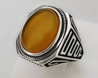 Handmade 925 Sterling Silver Natural Yellow Agate Stone Men's Ring #M33