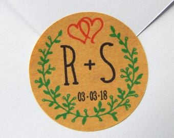 15 - 300 pcs. Custom Wedding Save The Date Stickers, Labels Wreath  Round Initials Date Personalised Wedding Stickers, Envelope Seals