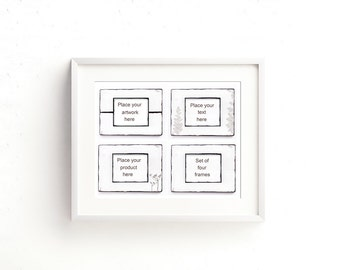 White frame digital mockup. Set of 4 shabby chic digital frames. Product, artwork, text, quote display. Print or web use. 10in x 8in.