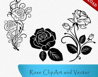 Vector roses etsy rose silhouette rose clipart rose vector roses clipart cut vector voltagebd Choice Image