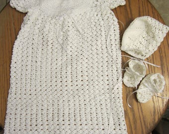 Newborn Christening Dress, Bonnet, and Booties - Offset Shell Set