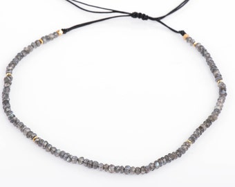 Labradorite Choker or Necklace, Gemstone Choker, Adjustable Necklace, Gemstone Rondelle,Sliding Knot,Beaded Necklace,Semiprecious Gemstone