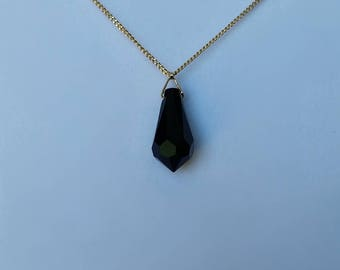 black and gold crystal tear drop necklace