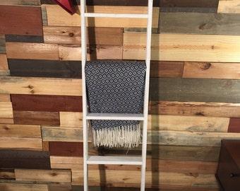 Ladder pot rack etsy for Reclaimed wood pot rack
