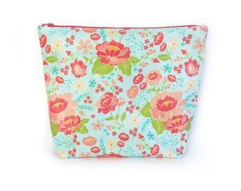Large Laminated Zipper Bag, Oilcloth Zipper Bag, Cosmetic Bag -  Aqua Floral