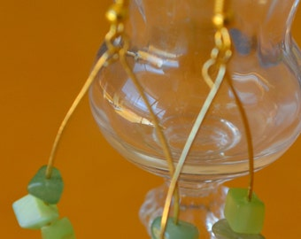 Green tear drop earrings