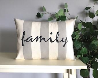Family Pillow, Decorative Pillow, Rustic Home Decor, Accent Pillow