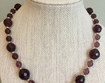 """Upcycled Jewelry- """"Grape""""  Beaded Necklace - Made with Vintage/ Recycled Materials"""