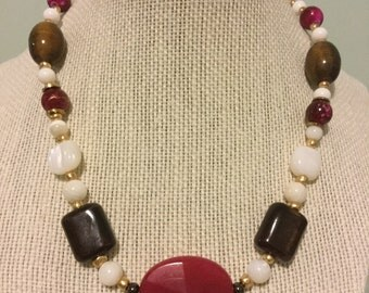 """Vintage Beads -  """"Entity""""  Upcycled Necklace - Jewelry Made with Vintage/ Recycled Materials"""