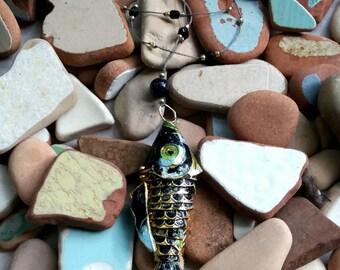 Retro 70's enamel fish pendant necklace .