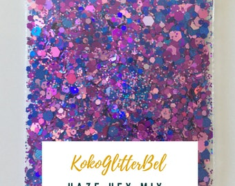 Purple Holographic Holo Glitter Hex Solvent Resistant for Nail Art * Haze Mix * 5 grams Navy Purple