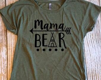 Mama Bear Dolman Shirt, Military Green Shirt, Scoop Neck Shirt, Loose Fit Shirt