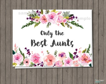 Pregnancy Announcement Card - Only the Best Aunts Get Promoted to Great Aunt - Floral Pregnancy Reveal, Baby Announcement, New Great Aunt