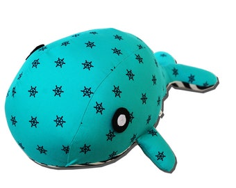 Whale Soft Toy - Teal Blue & Green