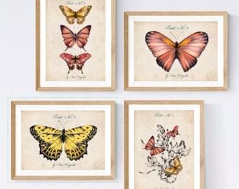 Print Set, Art print set, Wall art print, Kitchen art set, Nursery print set, Botanical art, Vintage decor, Vintage print, Butterfly art