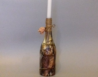 Owl Wine Bottle Candle Holder