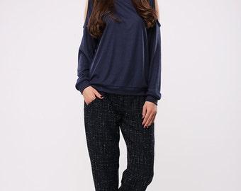 Boyfriend blue wool pants fully lined | Blue wool pants