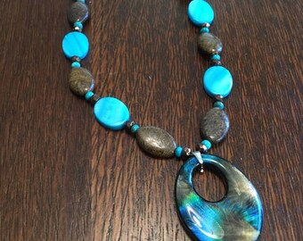 Turquoise, Blue Mother-of-Pearl and Bronzite Necklace