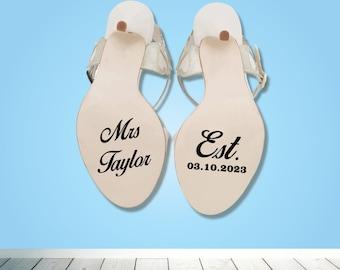Mrs Surname Est. date wedding shoe heel sticker - Bride Groom decal - something blue - Wedding day - Bride  Groom shoe decal - Gift