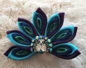 Kanzashi Peacock Ribbon Hair Bow