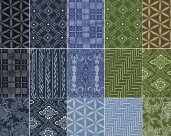 Boro Charm Pack by Parson Gray for Free Spirit Fabrics - 42, 5 inch Precut Fabric Squares