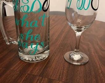 Bride & Groom Drinking Glass Set