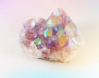 Metallic Muave Healing Angel Aura Quartz Crystal Cluster