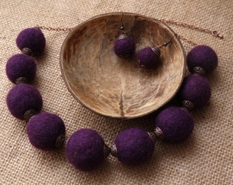 Felted purple beads
