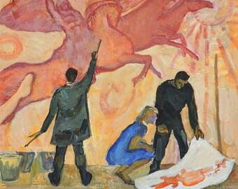 VINTAGE ORIGINAL OIL Painting by Minskaya-Lelchuk M. 1970s, Conversation piece, Genre scene, Soviet Art, Socialist realism, One of a kind