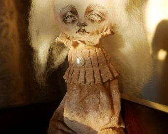 "OOAK Cloth Doll - ""Edgar Whitby"" - Fabric Folk Art Doll - Victorian - Ghost"