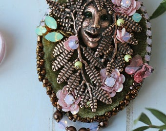 "Brooch ""spring forest dweller"" with viscose brush"