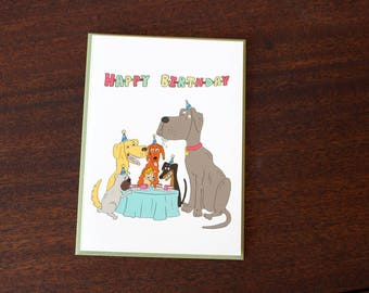 Cartoon Dog Birthday Card