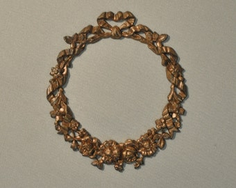 Vintage French Ribbon and Floral Style Brass Open Back Portrait Setting 100 - 101J