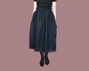 Vintage lace skirt, viktorian black skirt, lace black skirt, lace midi skirt, black midi skirt, lace skirt size XS S M midi skirt