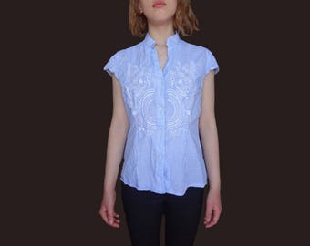 Blue embroidered shirt, vintage sleeveless top, embroidered top, vintage embroidery top, blue v neck shirt, cotton summer top XS S M
