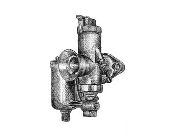 Amal Pre-Monobloc Carburetor Pen and Ink Print Motorcycle Art