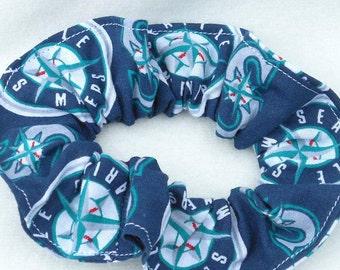 Seattle Mariners Scrunchie-Mariners Hair Tie-Mariners Scrunchies-Mariners Hair band-Seattle Mariners Hair Scrunchy-Mariners Pony Tail Holder