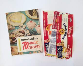 Borden's Eagle Brand 70 Magic Recipes - 1952 - Vintage Cookbook - Can Label Recipes - Texas Cookbook - 50's Kitchen - Old Recipes - Cows