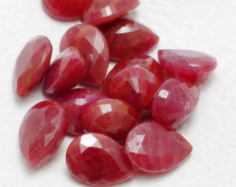 10% SALE Natural Ruby Pear Briolettes, Luxe AAA, 7x5 mm , True Red, Faceted Pear , 14 pc lot Ruby Pear cutstone CODE# AHRU03