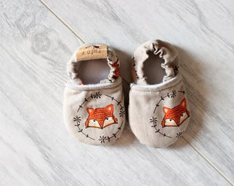 Baby slippers - Baby accessories - Baby shower - Birth gift - Baby boy - Baby girl - Summer shoes - Fox - Boho accessories - Forest animals