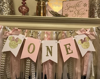 Pink and Gold First Birthday| Minnie Mouse Birthday Decorations | Minnie Mouse Party Decorations | Minnie Mouse Birthday Banner
