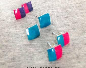 Turquoise stud earrings, pink and purple stud earrings, two color earrings, handmade earrings, everyday earrings, geometric earrings.