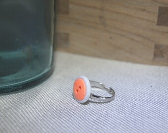 Neon Orange and White Button Ring