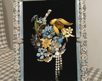 Vintage Jewelry Framed Art Collage Picture
