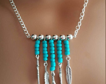 Turquoise and feathers